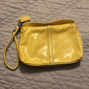 Coach patent leather clutch yellow